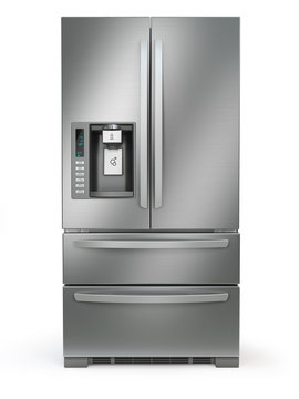 Fridge freezer. Side by side stainless steel refrigerator  with ice and water system isolated on white background.