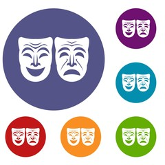 Happy and sad mask icons set in flat circle reb, blue and green color for web