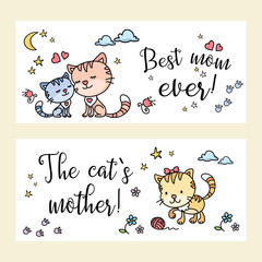 Two banners with funny andcute cats,mother day card template,