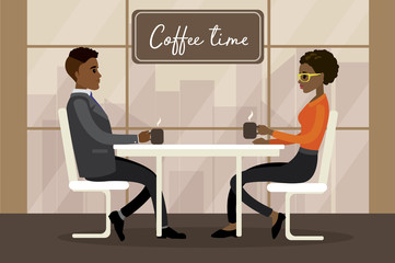 male and female drinking coffee,