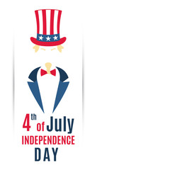 Greeting banner for 4th of July, USA Independence Day. Vector illustration. Uncle Sam with a copy space for your text.