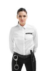 Female security guard in uniform on white background