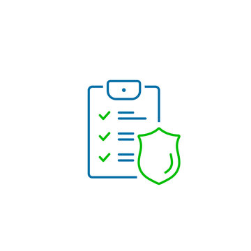 Checklist and shield, Insurance policy concept, data document security, vector line icon