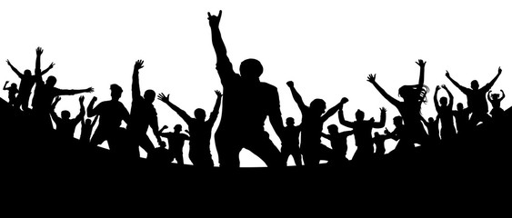 Party, concert, dance, fun. Crowd of people silhouette vector. Cheerful youth.Cheer audience. Hand applause. Music festival. Rock concert