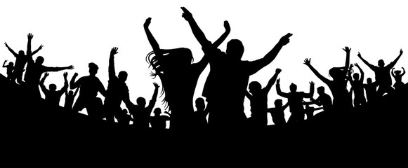 Party, concert, dance, fun. Crowd of people silhouette vector. Cheerful youth.Cheer audience. Hand applause. Music festival