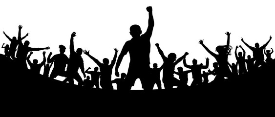 Sports fans audience. Soccer goal stadium. Cheerful people crowd applauding, silhouette. Party, applause. Dance concert disco