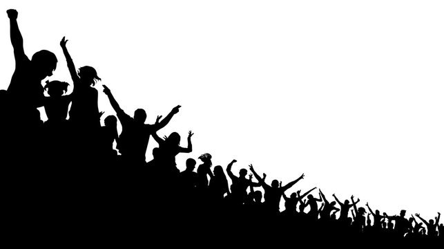 Soccer crowd, cheer fan, vector silhouette background. Basketball, hockey, baseball, stadium audience