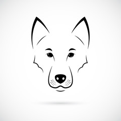 Wolf Muzzle on white background. Line art. Minimalist animal icon for your design.
