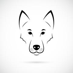 Wolf Muzzle on white background. Line art. Minimalist animal icon for your design.