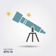 Telescope flat icon,