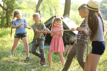 Little children pulling rope outdoors. Summer camp
