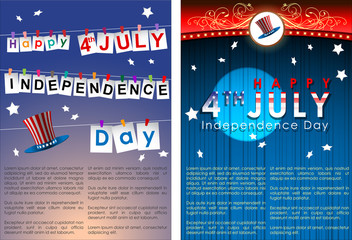 Abstract Happy 4th of July, Memorial Independence Day Banner. Vector and Illustration, EPS 10.
