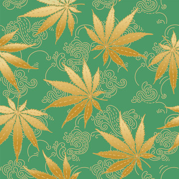 Cannabis or Marijuana leaves in green and gold. Hand drawn seamless pattern in vector format.