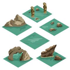 Beach landscape isometric tile set
