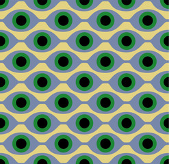 Seamless pattern with eye like shapes. Vector illustration