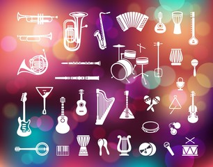 Collection of musical instruments icons on the Colorful background with defocused lights