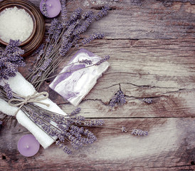 Lavender soap, scented salt and spa stones - Spa treatment, spa concept