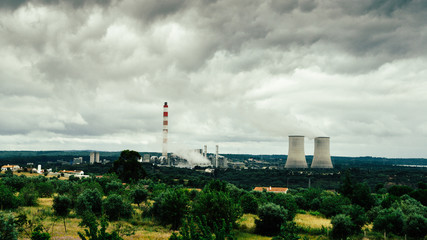 Panorama of cooling towers of nuclear power plants in Portugal - power generation concept