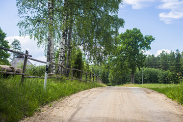 A dirt road between the green forest and the country field on a clear summer day, Latvia