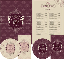 Vector set of design elements for liquor store in baroque style with a hand drawn crown and vignette with curls and fruits. Menu cover, price list, stands for drinks and business cards