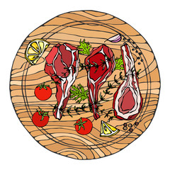 Lamb Ribs Chops with Herbs, Lemon, Tomato, Parsley, Thyme, Pepper. On a Round Wooden Cutting Board. Meat Guide for Butcher Shop or Steak House Restaurant Menu. Hand Drawn Illustration. Doodle Style.
