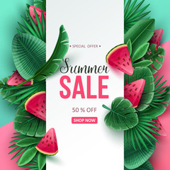 Summer sale background with tropical fruits and palm leaves. Vector illustration.