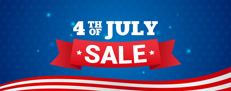 4th of July Sale Banner Vector illustration. Text on blue star pattern background.