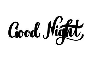 Good night hand lettering for poster, banner, logo, icon, promo. Sleep expert or children book or kid club pajama party.