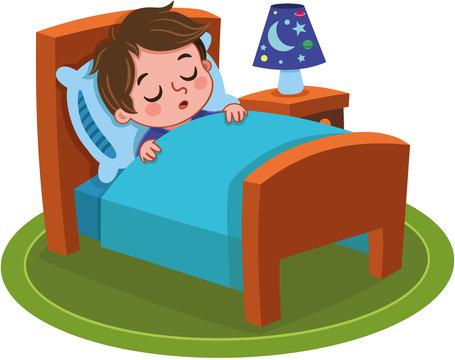 Vector illustration of a sleeping boy.