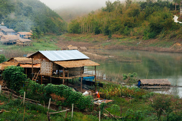 Landscape of local village in mountain Sangkhlaburi, Kanchanaburi, Thailand