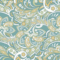 seamless pattern with ethnic flowers and leaf, vector floral illustration in vintage style