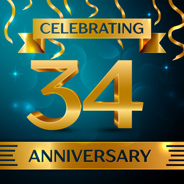 Realistic Thirty four Years Anniversary Celebration Design. Golden confetti and gold ribbon on blue background. Colorful Vector template elements for your birthday party