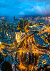 Aerial view of Hong Kong and Kowloon cityscape