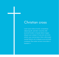 Christian cross silhouette. Religion symbol. White cross on blue background with text, vector illustration template for broschure, poster and web banner design