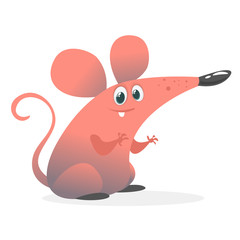 Funny cartoon pink mouse. Vector illustration isolated