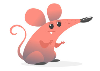 Funny cartoon pink mouse. Vector illustration isolated. Design for sticker, print or children book illustration