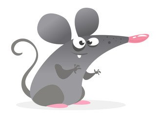 Funny cartoon grey mouse character. Vector illustration isolated