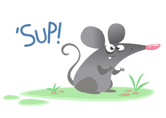 Funny cartoon grey mouse character saying 'Sup!'. Vector illustration isolated