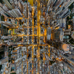 Wall Mural - Aerial view of Hong Kong and Kowloon cityscape