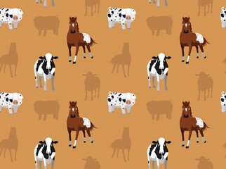 Livestock Farm Animals Seamless Wallpaper 8
