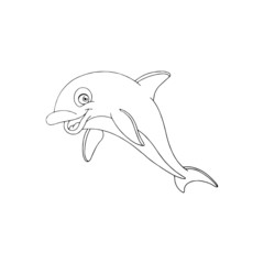 Dolphin cartoon illustration isolated on white background for children color book