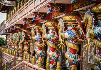 Chinese dragon statue posts.