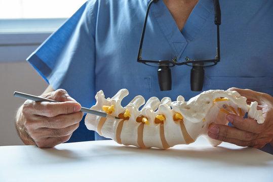 A neurosurgeon pointing at lumbar vertebra model