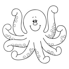 Octopus cartoon illustration isolated on white background for children color book