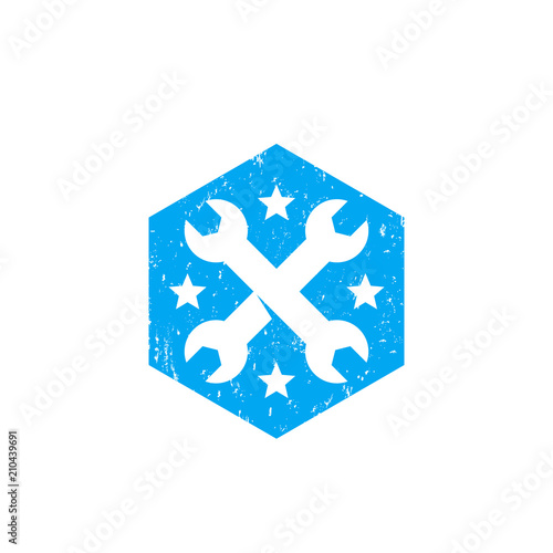 crossed wrenches, tools, repair service vector badge with texture