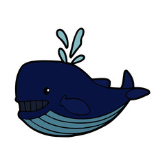 Whale cartoon illustration isolated on white background for children color book