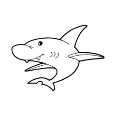 Shark cartoon illustration isolated on white background for children color book