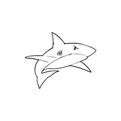 Shark cartoon illustration isolated on white background for children color book