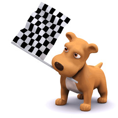 Vector 3d Funny cartoon puppy dog at the finish line