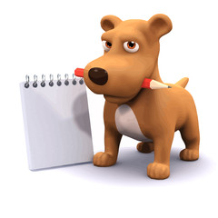 Vector 3d Funny cartoon puppy dog with notepad`